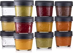 Ball Glass Food Storage Containers 4 oz. [12 Pack] Small Food Jars with Airtight BPA Free Plastic lids - For Food, Oats, Dips/snacks, Etc. Microwave/Dishwasher Safe + SEWANTA Jar Opener
