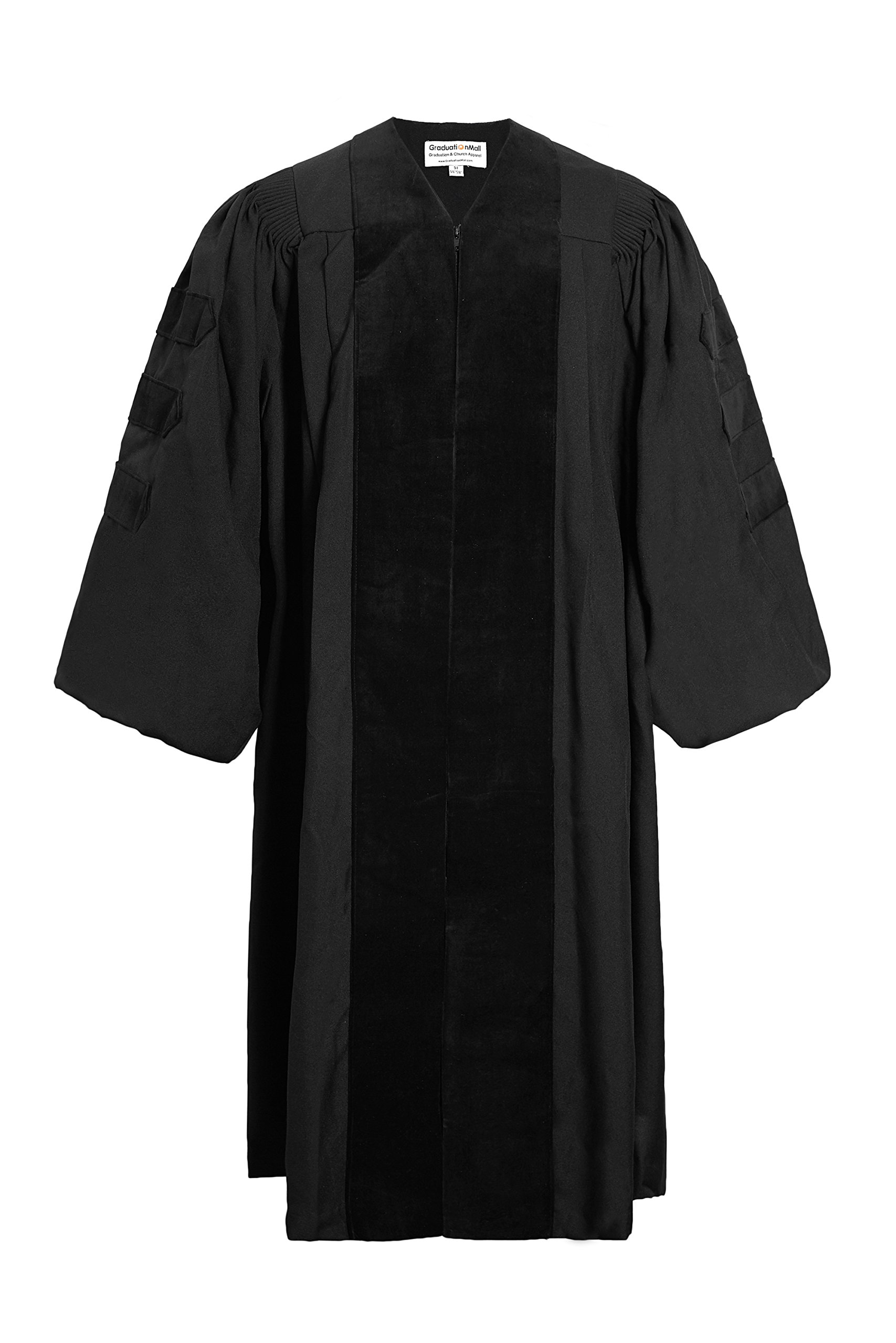 GraduationMall Deluxe Doctoral Graduation Gown Black 48(5'3''-5'5'')