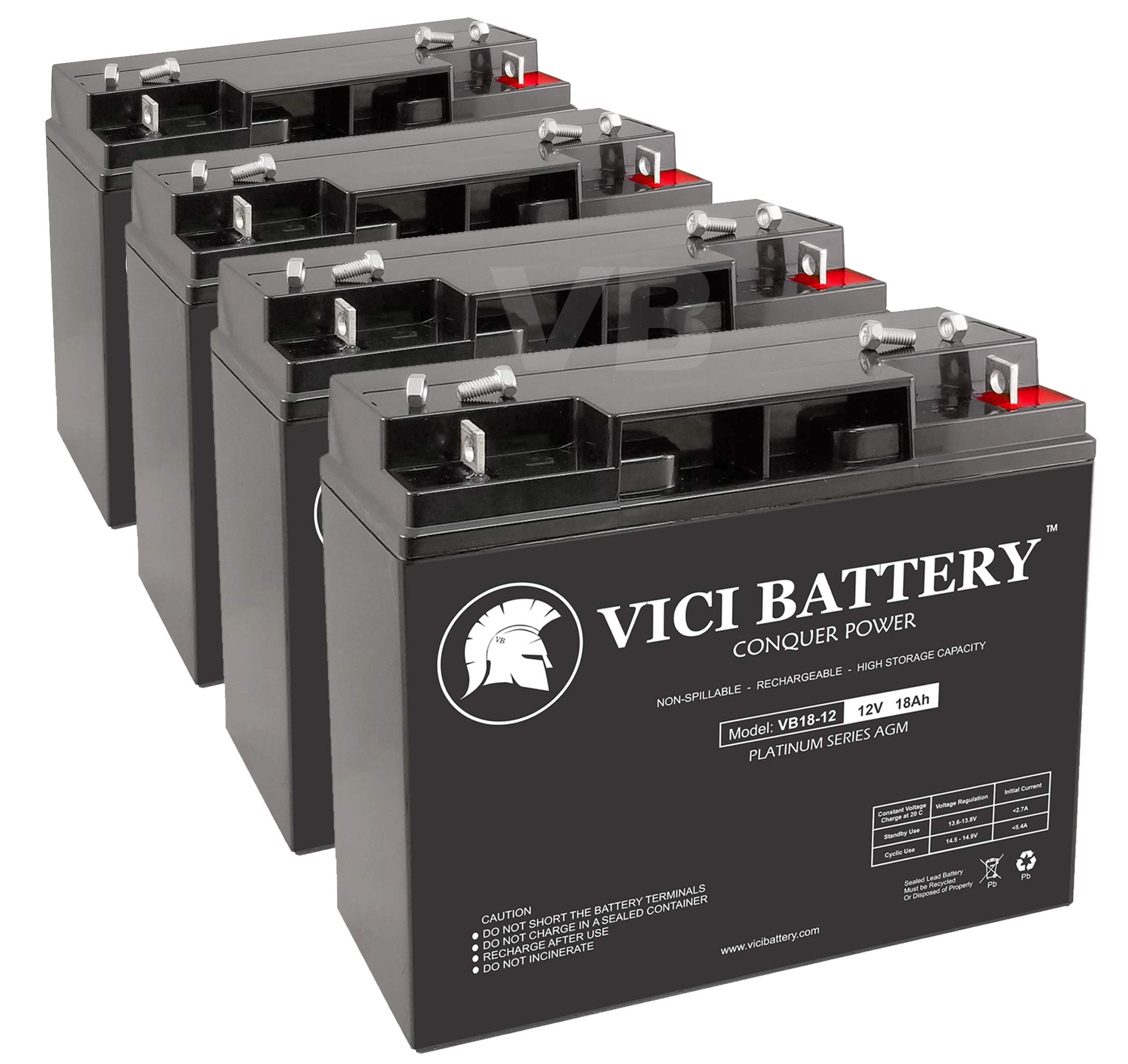 VICI Battery VB18-12 - 12V 18AH Replacement for TaoTao ATE-501 Electric Scooter Battery Set - 4 Pack by VICI Battery