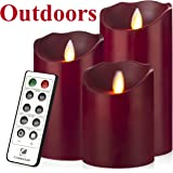 """Outdoor Indoor LED Candles Waterproof Battery Operated candles with Remote timer 12-H Flickering Flameless candles set of 3(4""""5""""6"""")-Burgundy-Comenzar"""