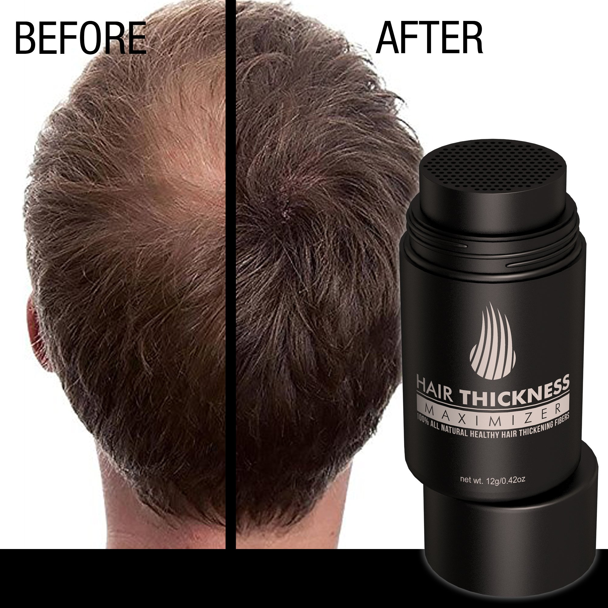 Hair Thickness Maximizer 2.0 - Safer Than Keratin Hair Building Fibers With 2nd Gen All Natural Plant Based Hair Loss Concealing Fillers For Instant Thickening of Thinning or Balding Hair by Hair Thickness Maximizer (Image #7)