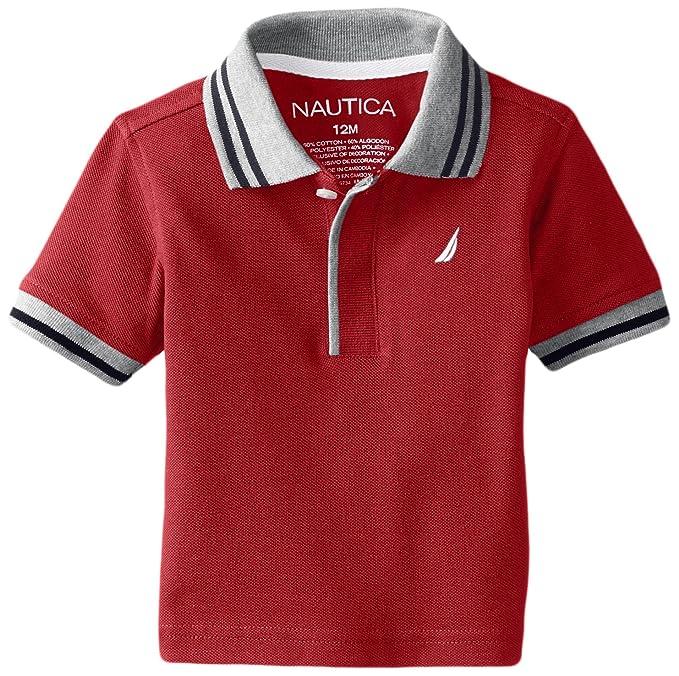 Amazon.com: Nautica Baby Boys Short Sleeve Solid Pique Tipped Collar Polo: Clothing