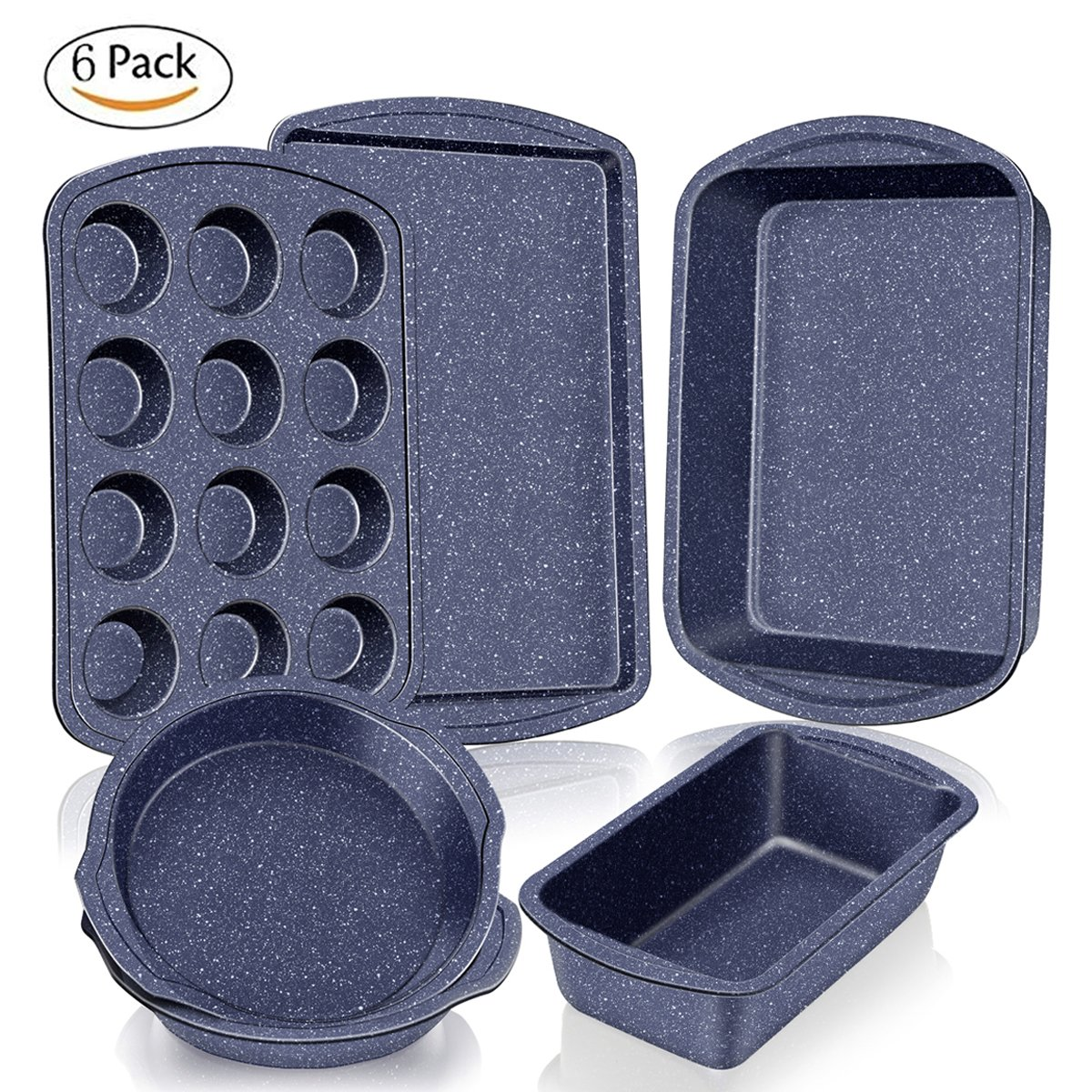 Baking Pan Nonstick Bakeware Set 6-Piece, Baking Sheet No Stick Carbon Steel Cookie Sheet, Muffin Roasting Loaf Pan and Pizza Bread Pans Cookware Set