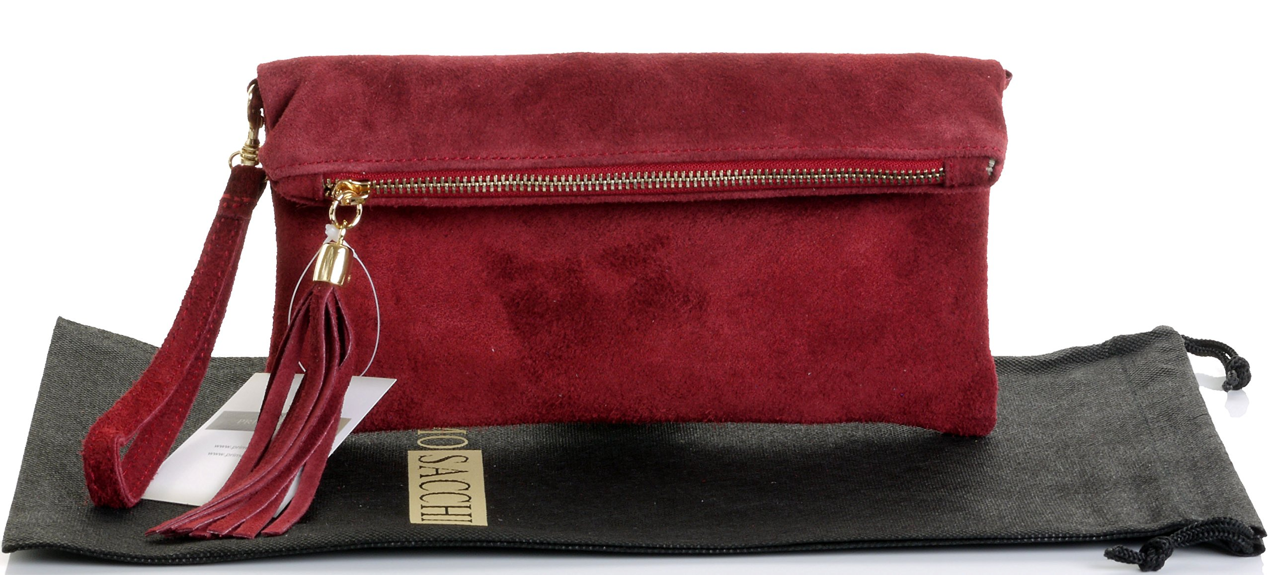 Italian Suede Leather Hand Made Dark Red Fold Over Clutch, Wrist or shoulder Bag. Includes a Branded Protective Storage Bag.
