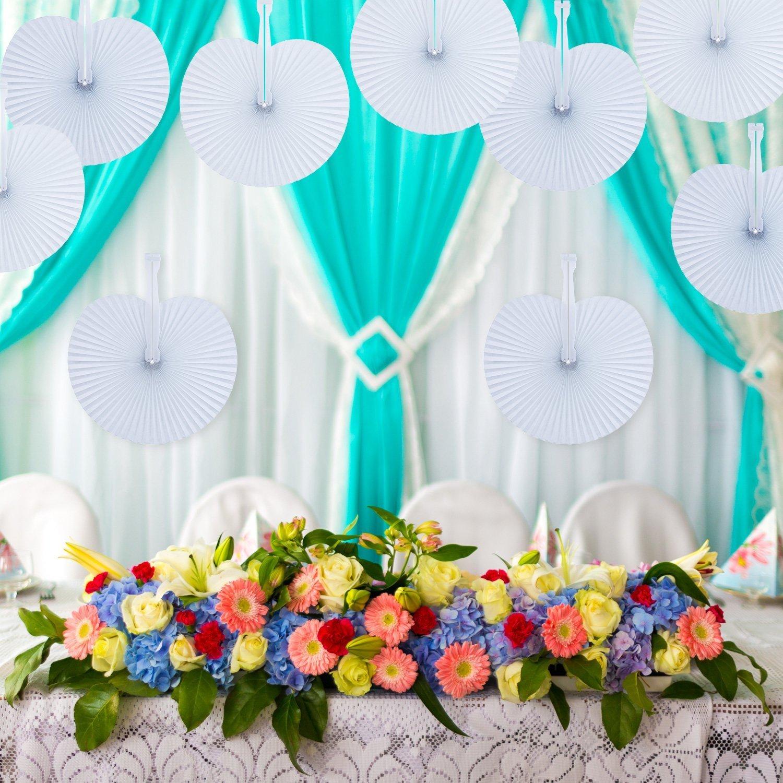 Azul, coraz/ón Fiestas o Ceremonias en Forma de Coraz/ón Detalles para Invitados de Bodas CozofLuv 48 Piezas Abanico PAI PAI de Papel