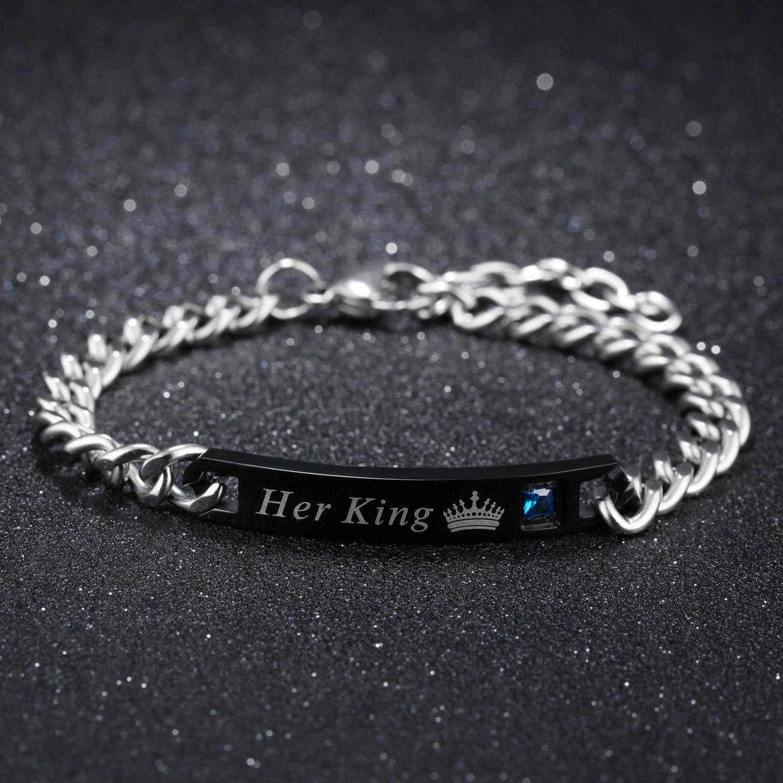 JewelryWe Bijoux Bracelet Her King /& His Queen Personnalisation Gravure Gourmette d/'Amiti/é Amour Couple Acier Inoxydable Saint Valentin