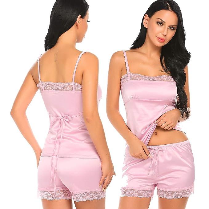 Aimado Women s Luxury Silk Sleepwear Satin Camisole And Short Pajamas Set ( Pink 07d146ee5