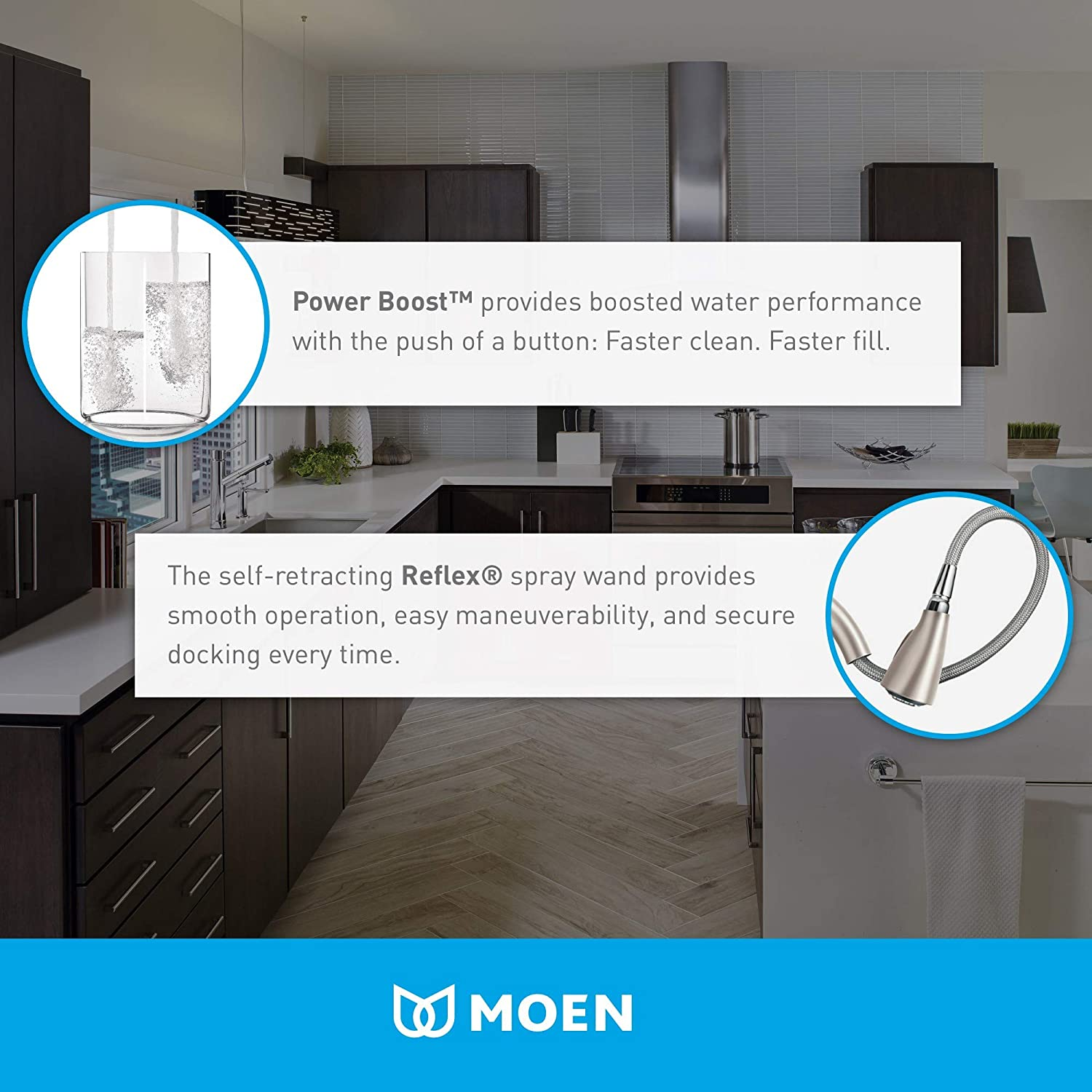 Moen S73004 Weymouth Shepherds Hook Pulldown Kitchen Faucet Featuring Metal Wand with Power Boost Chrome