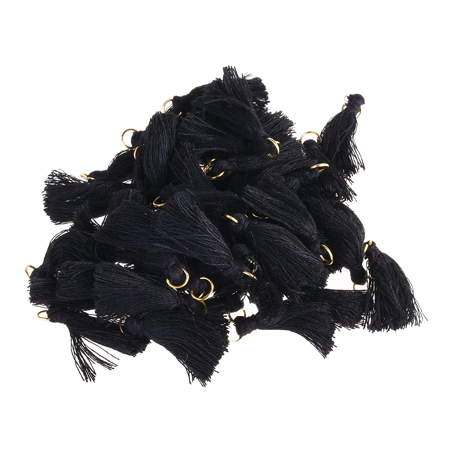 BCP 50PCS Black Color Silky Handmade Tiny Soft Tassels With Golden Jump Ring for Earring DIY Jewelry Making Accessory