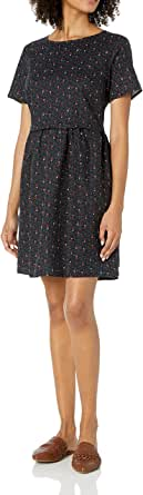 Marca Amazon - Goodthreads Washed Linen Blend Short-sleeve Fit-and-flare Dress - dresses Mujer