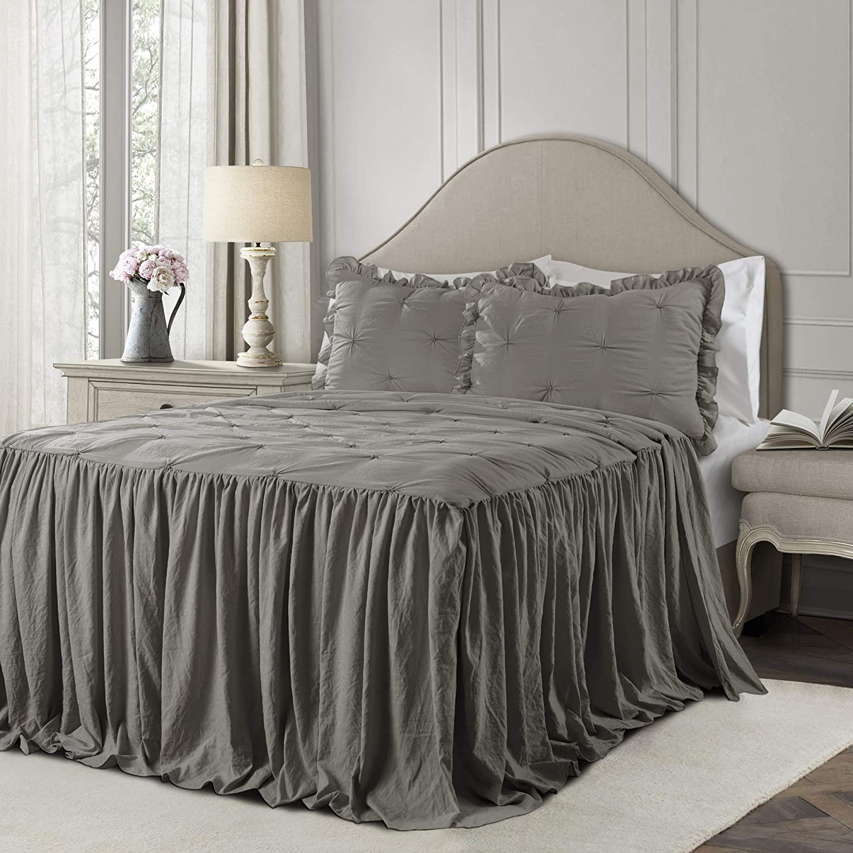 Lush Decor Dark Gray Ravello Pintuck Ruffle Skirt Bedspread Shabby Chic Farmhouse Style Lightweight 2 Piece Set Twin
