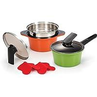 Happycall Alumite Ceramic Pot Set, Green, Orange, 2qt & 3qt, 3900-2003