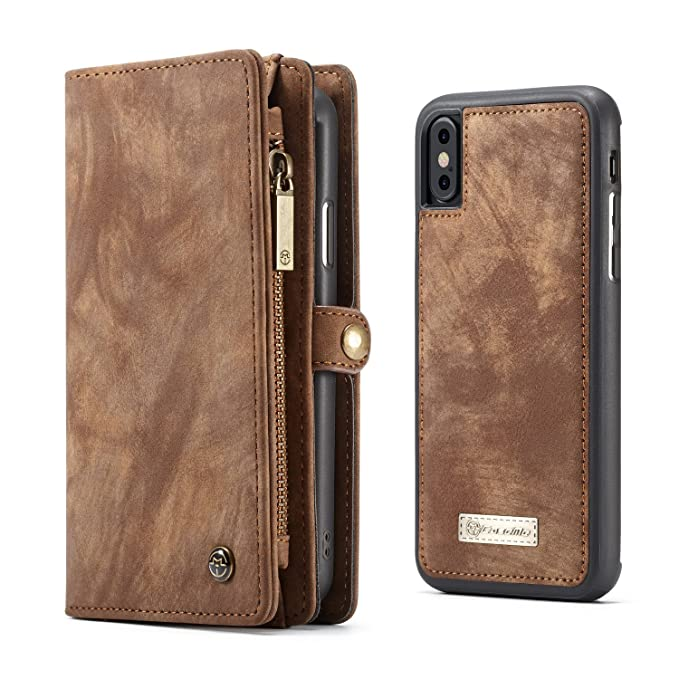 online store cb144 a28e8 iPhone X Case Wallet KONKY Caseme iPhone Xs Wallet Case, iPhone X Case  Magnetic Detachable Removable Phone Cover Pouch Folio Durable Leather Purse  ...