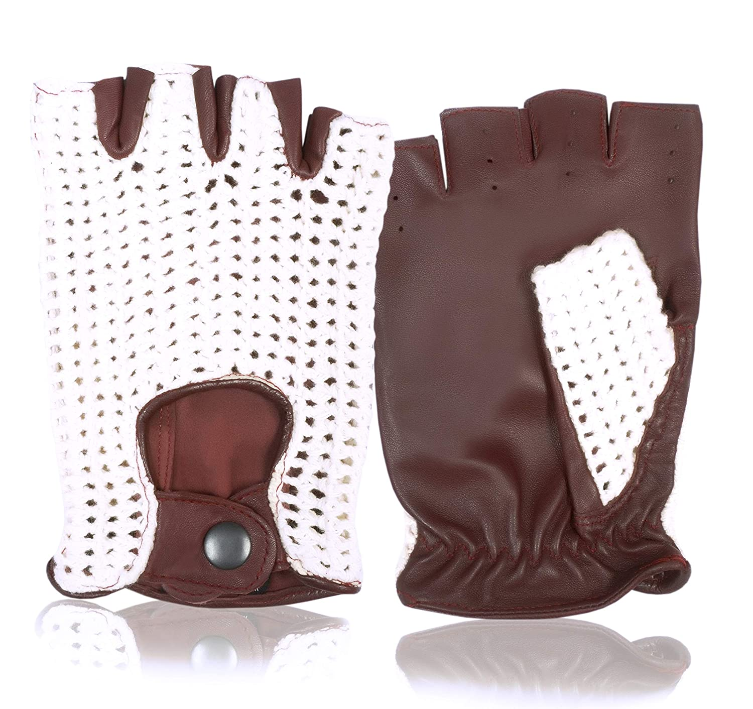 Classic Fingerless English Leather Driving Gloves Crochet String back Unisex Chauffeur Vintage fashion