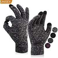 OKYWILL Winter Knit Touchscreen Gloves for Men and Women - Soft Warm Lining Elastic Cuff Anti-slip