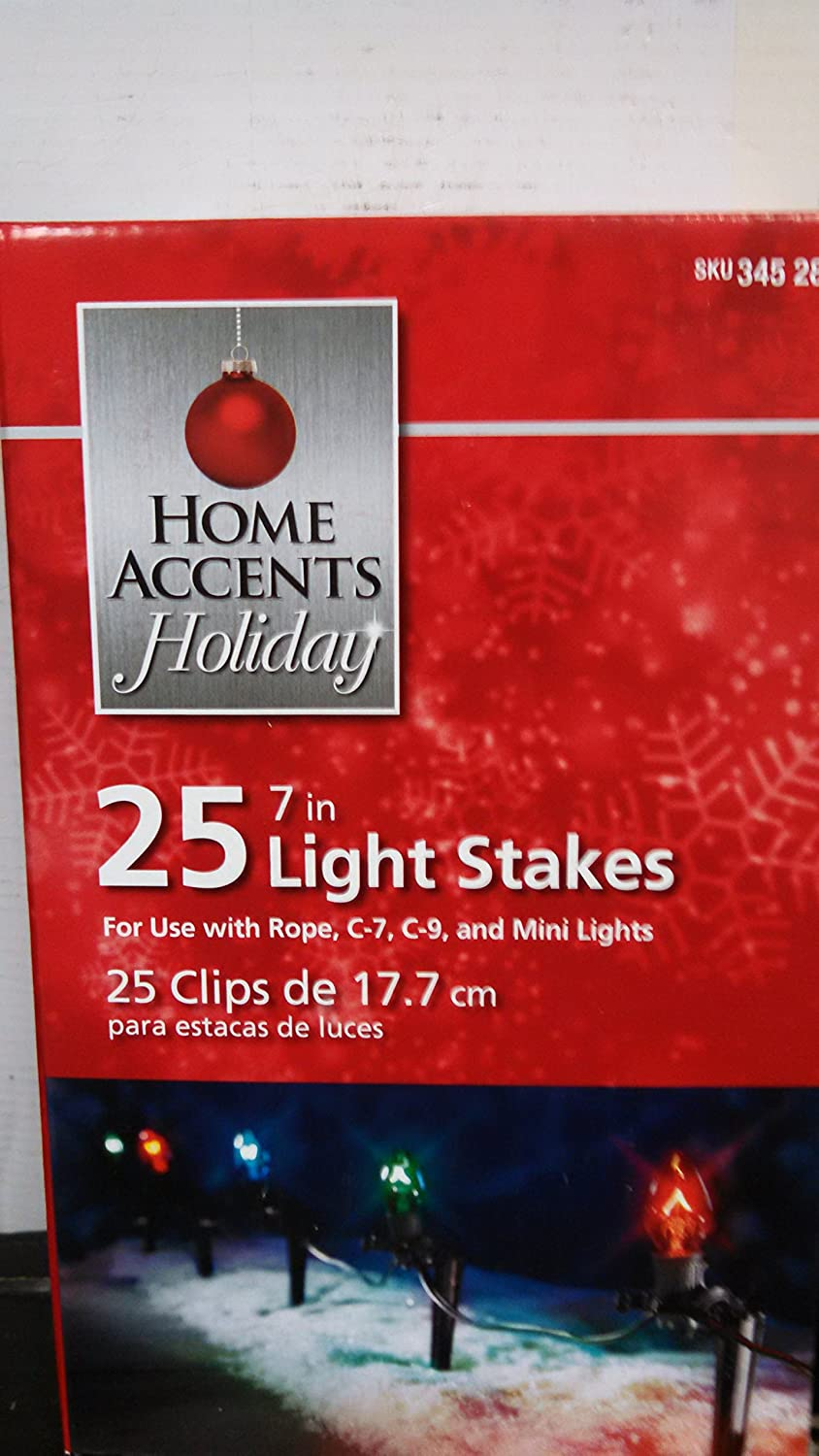 Home Accents Holiday 25 Pack 12 inch Christmas Light Stakes Yard Décor New