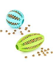 AMATHINGS Doppelpack (=2 Stück) Hundespielzeug Ball Und Ei In Verschiedenen Farben Premiumqualität Snackball (7 cm) Und Rugbyball (11 cm) Zur Zahnpflege Und Spielspaß