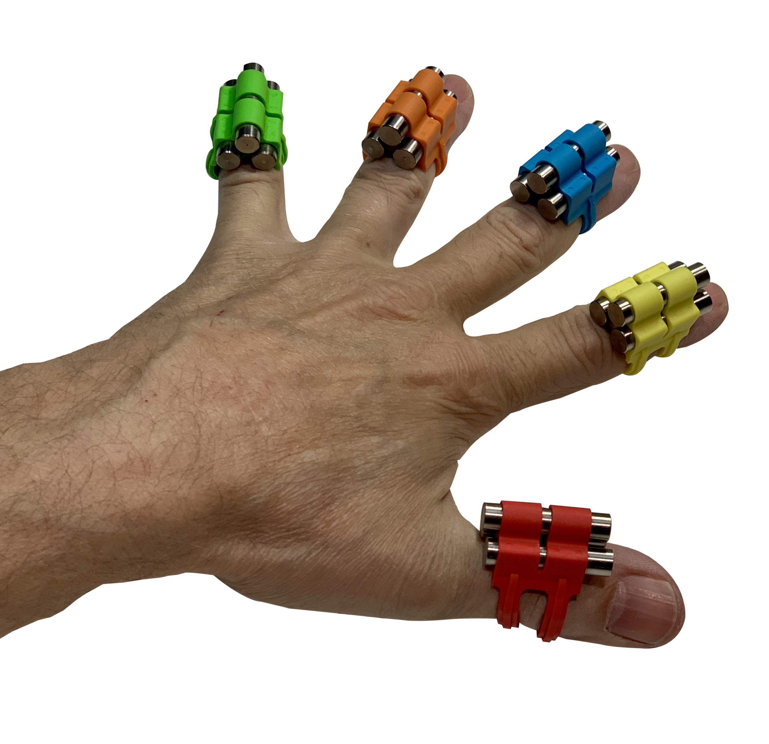 Finger Weights Original - Set of 5 - for Music Sports Gamers and Health Black or Multicolor Grip Strength Hand Grip Strengthener Speed Trainer (Multicolor)