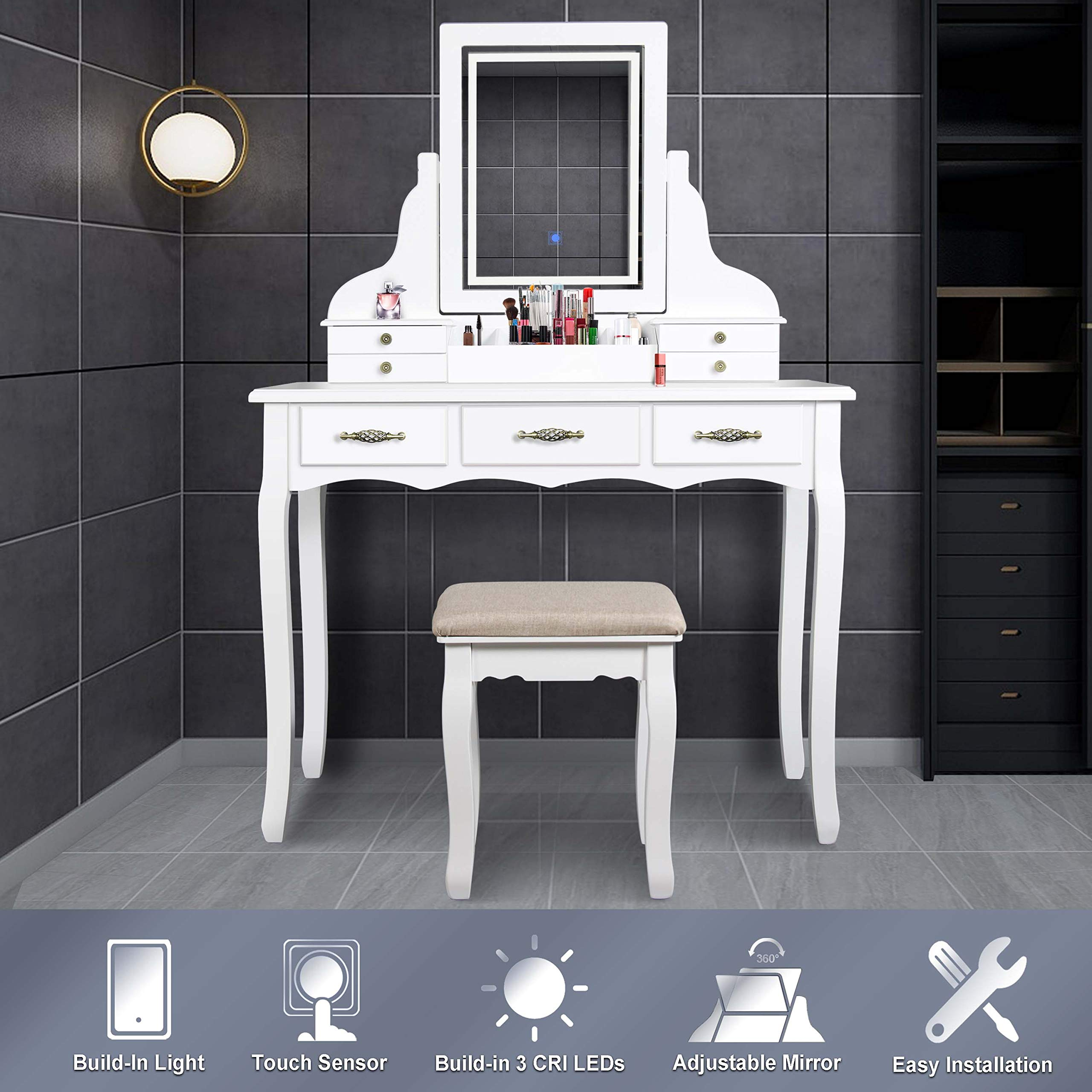 LED Vanity Table,7 Drawers Makeup Dressing Table with Cushioned Stool-White by ENSTVER