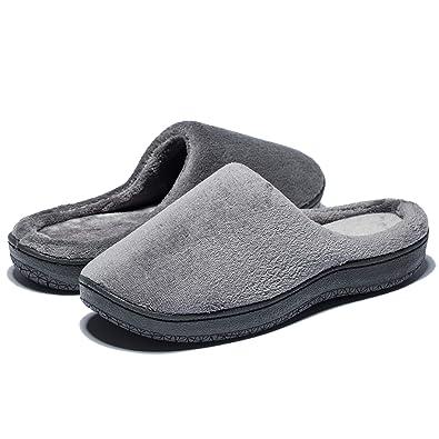 b878ba06047bf Duckmole House Slippers for Men, Mens Memory Foam Coral Fleece Shoes, Non  Slip Soft