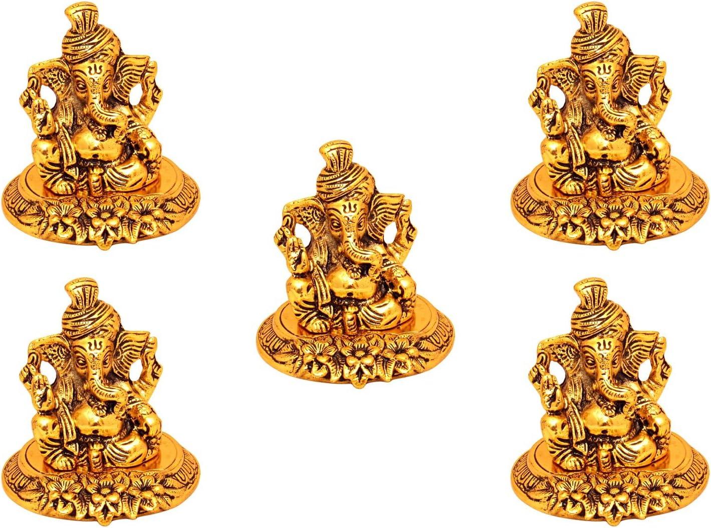 GoldGiftIdeas Oxidized Gold Plated Paghdi Ganesha Idol for Gift, Return Gift for Indian Festival, Ganpati Idol for Pooja, Decorative Worship Idol, Home Decor Gift Item (Pack of 5)