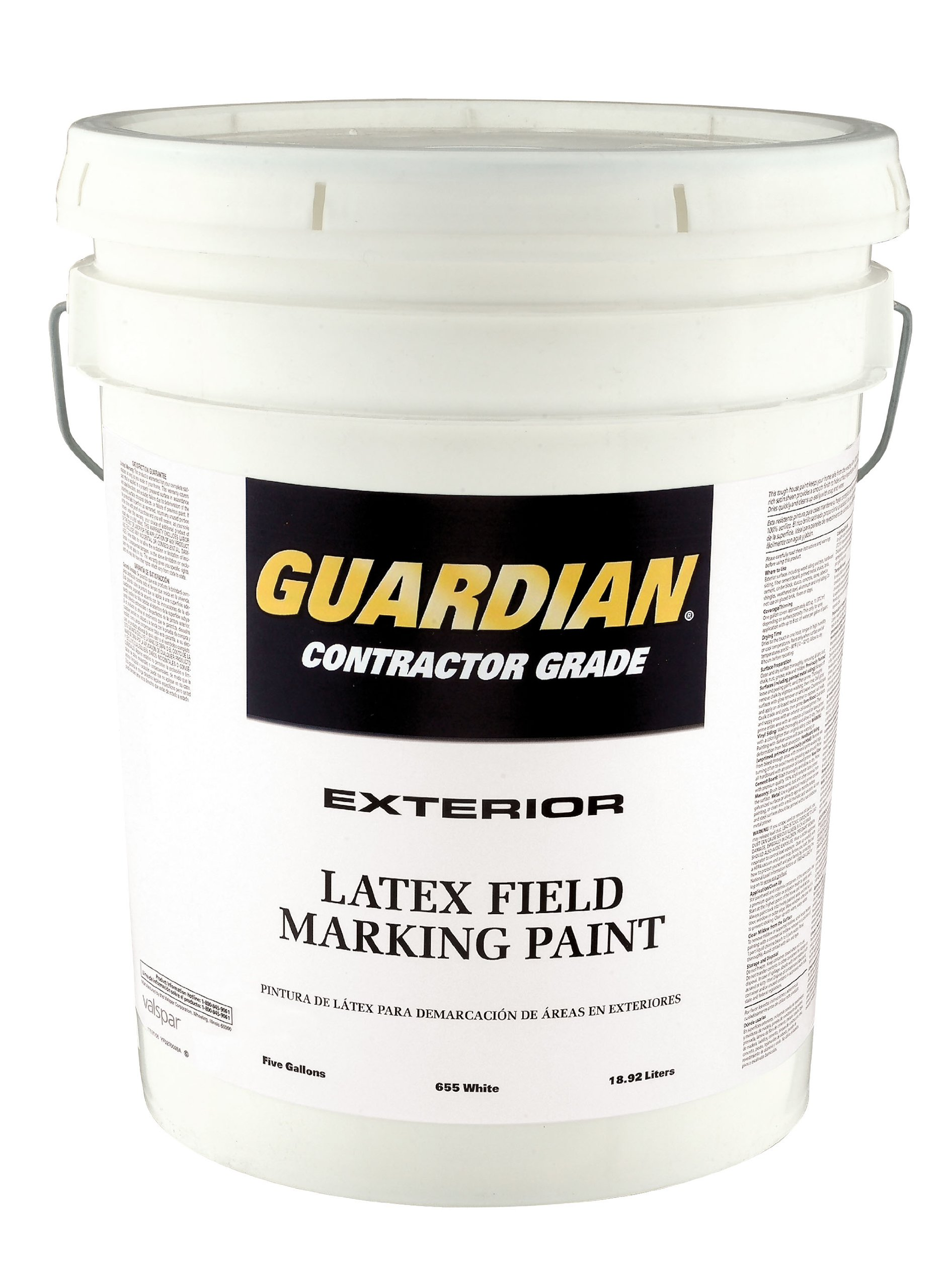 Valspar 44-655P White Latex Professional Quality Guardian Field Marking Paint - 5 Gallon