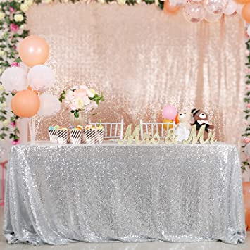 48/'~132/'/' Sparkly Sequin Tablecloth Round /& Rectangle Wedding Table Covers Cloth