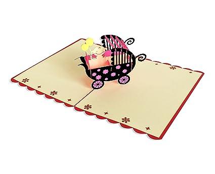 YOKARTA 3D Pop Up Tarjeta de Felicitación Bebé con Sobre hijo y hija   Postales Tridimensionales para Dedicatorias Originales de Feliz Nacimiento ...