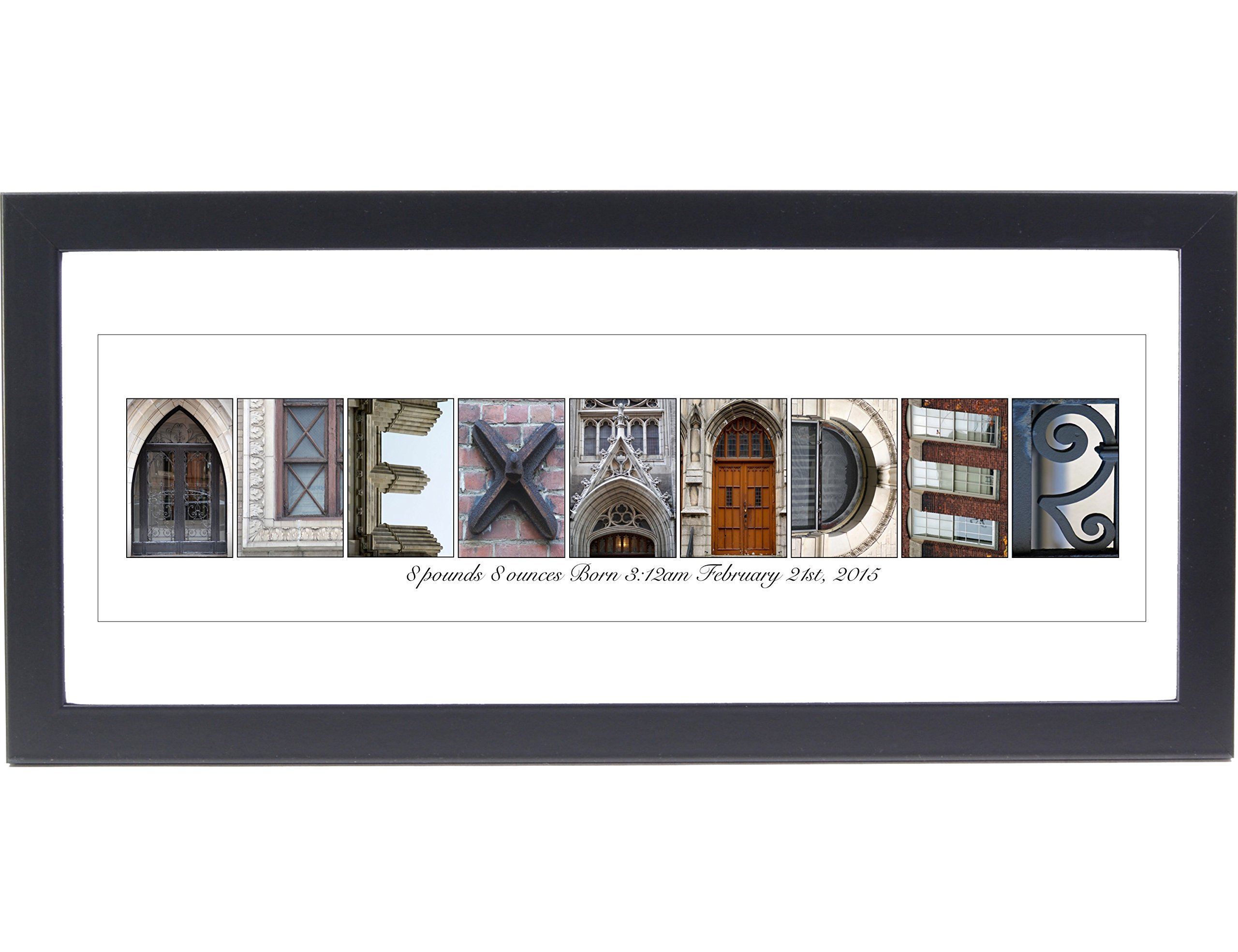 Creative Letter Art Newborn Name Gifts - Name Sign Wall D?cor for Girls or Boys Bedroom includes 12 by 26 inch Frame with Mat- Exclusively