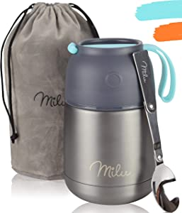 Milu Thermos Food Jar with folding Spoon 15,2 oz / 22 oz Double Wall Insulated Stainless Steel Food Containers Wide Mouth Lunch Box for Hot & Cold Food for Kids Adults Babys - Gray/Blue 15,2 oz