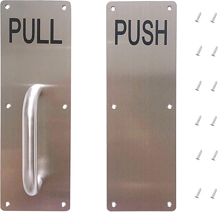 """Aimyoo Stainess Steel Door Handle, Pull and Push Plate Commercial Door Handle with Screws 11.8"""" x 3.2"""""""