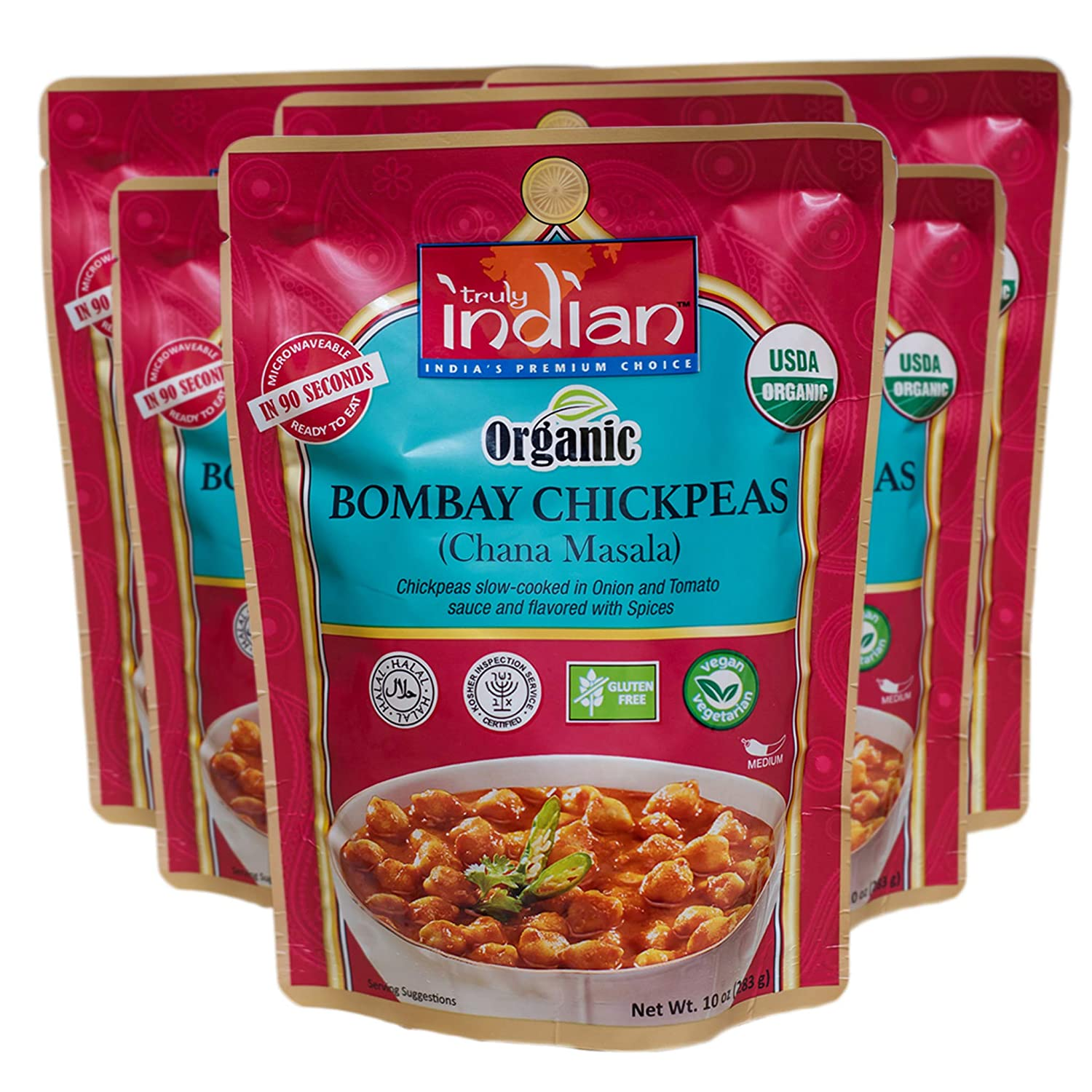 Truly Indian Organic Bombay Chickpeas, Chana Masala, Ready-To-Eat, Bold, Flavorful! Halal, Kosher, Gluten-Free, Vegan and Vegetarian, 6 pack