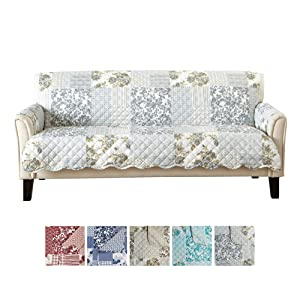"""Patchwork Scalloped Printed Furniture Protector. Stain Resistant Couch Cover. (74"""" Sofa, Grey)"""