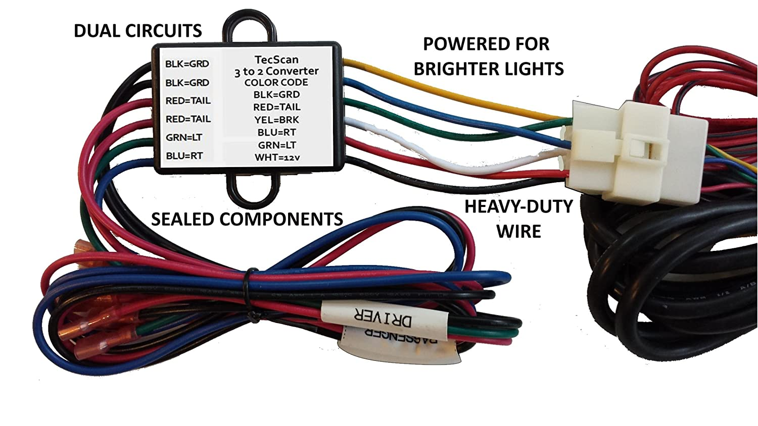 Tecscan Liteseasy Powered 3 To 2 Wire Trailer Tail Light Wiring On How Install A Taillight Converter Garden Outdoor