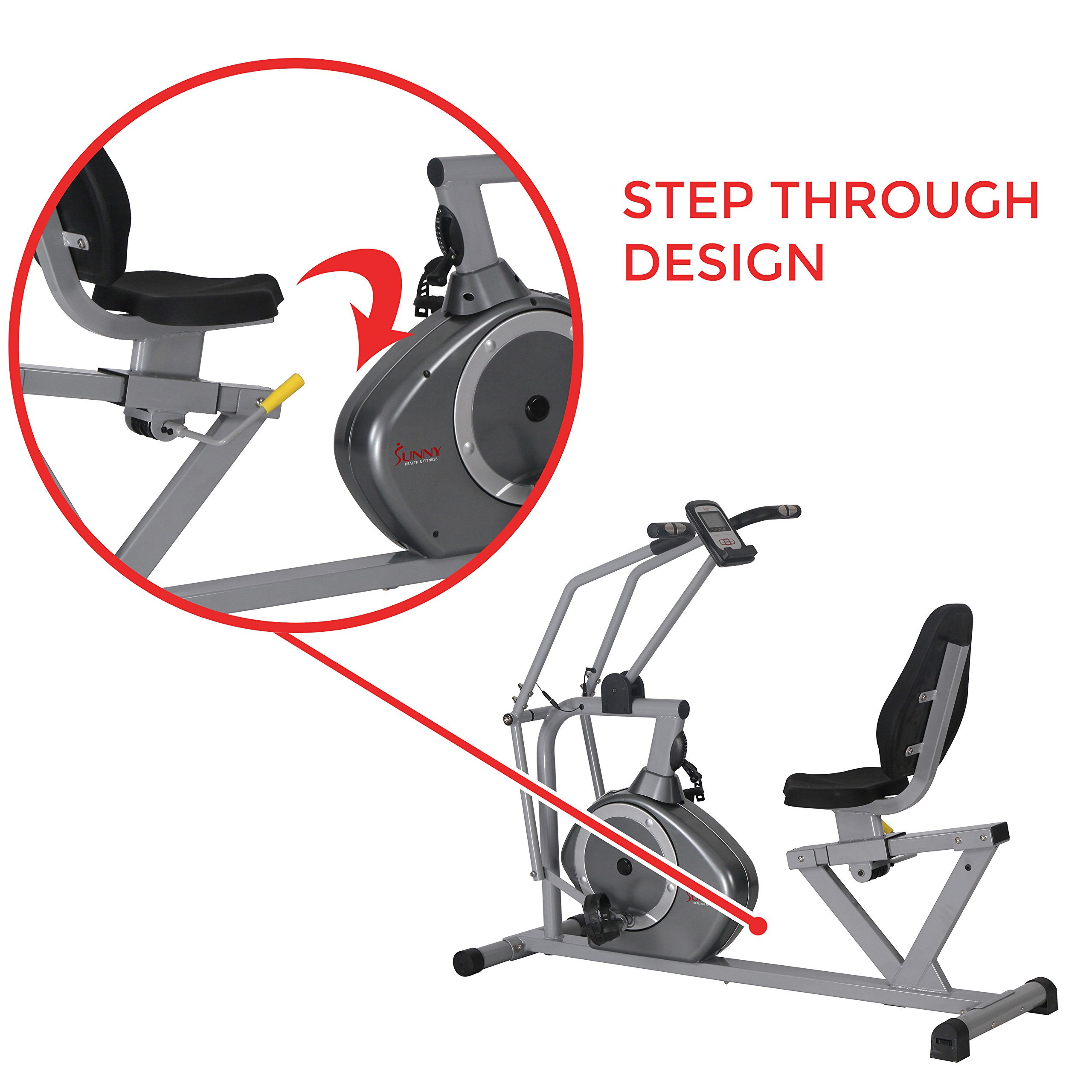 Sunny Health & Fitness Magnetic Recumbent Bike Exercise Bike, 350lb High Weight Capacity, Cross Training, Arm Exercisers, Monitor, Pulse Rate Monitoring - SF-RB4708 by Sunny Health & Fitness (Image #10)