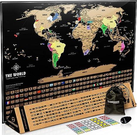 Scratch Off World Map Amazon.: Landmass Scratch Off Map of The World   Black Scratch