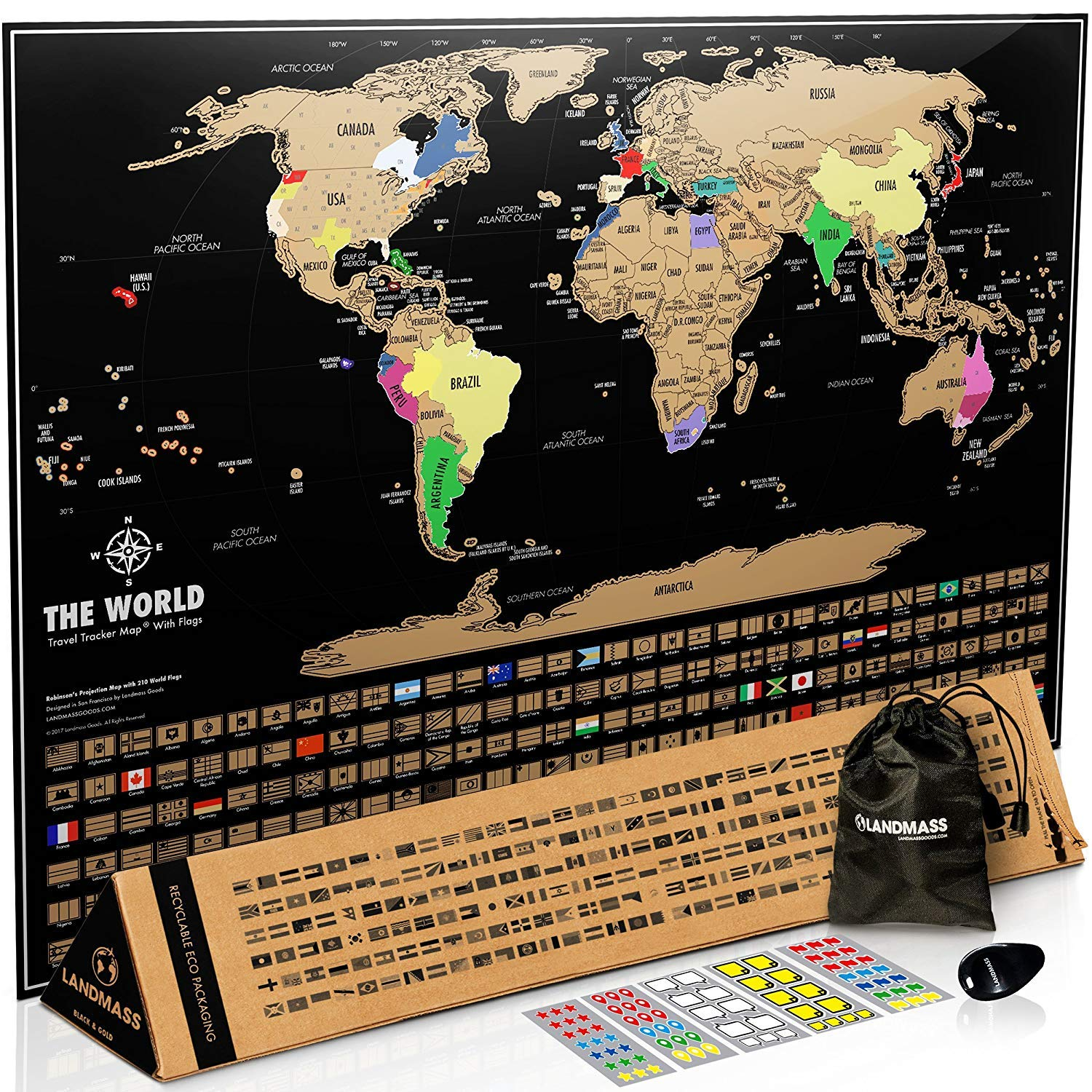 The Landmass Scratch Off World Map Poster travel product recommended by Robin Buck on Lifney.