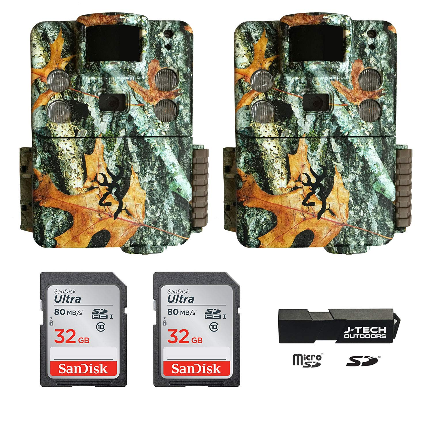(2) Browning Strike Force HD PRO X (2019) Trail Game Cameras Bundle Includes 32GB Memory Cards and J-TECH Card Reader (20MP) | BTC5HDPX by Browning Trail Cameras