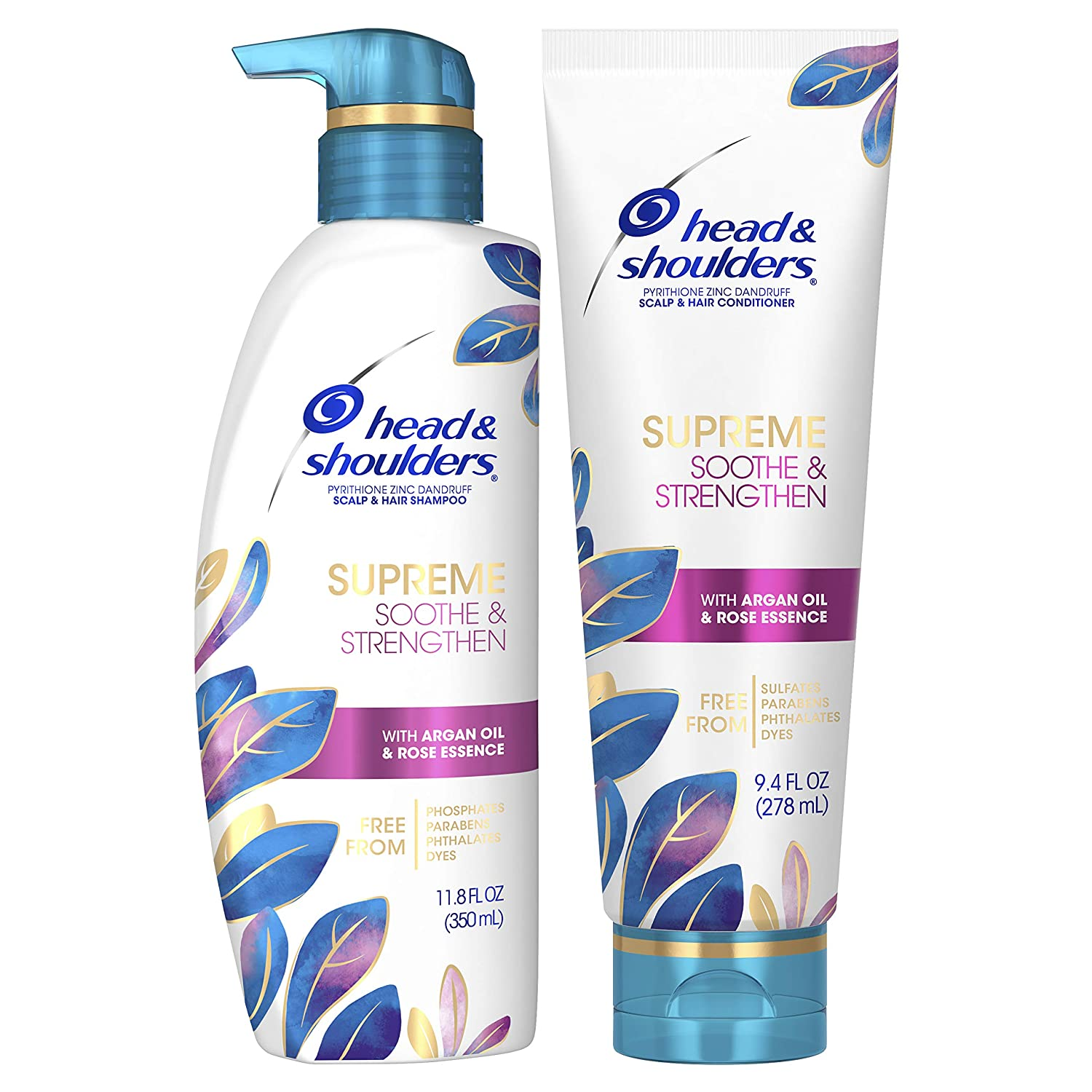 Head & Shoulders Supreme, Scalp Care and Dandruff Treatment Shampoo and Conditioner Bundle, with Argan Oil and Rose Essence, Soothe and Strengthen Hair and Scalp, 11.8 Fl Oz