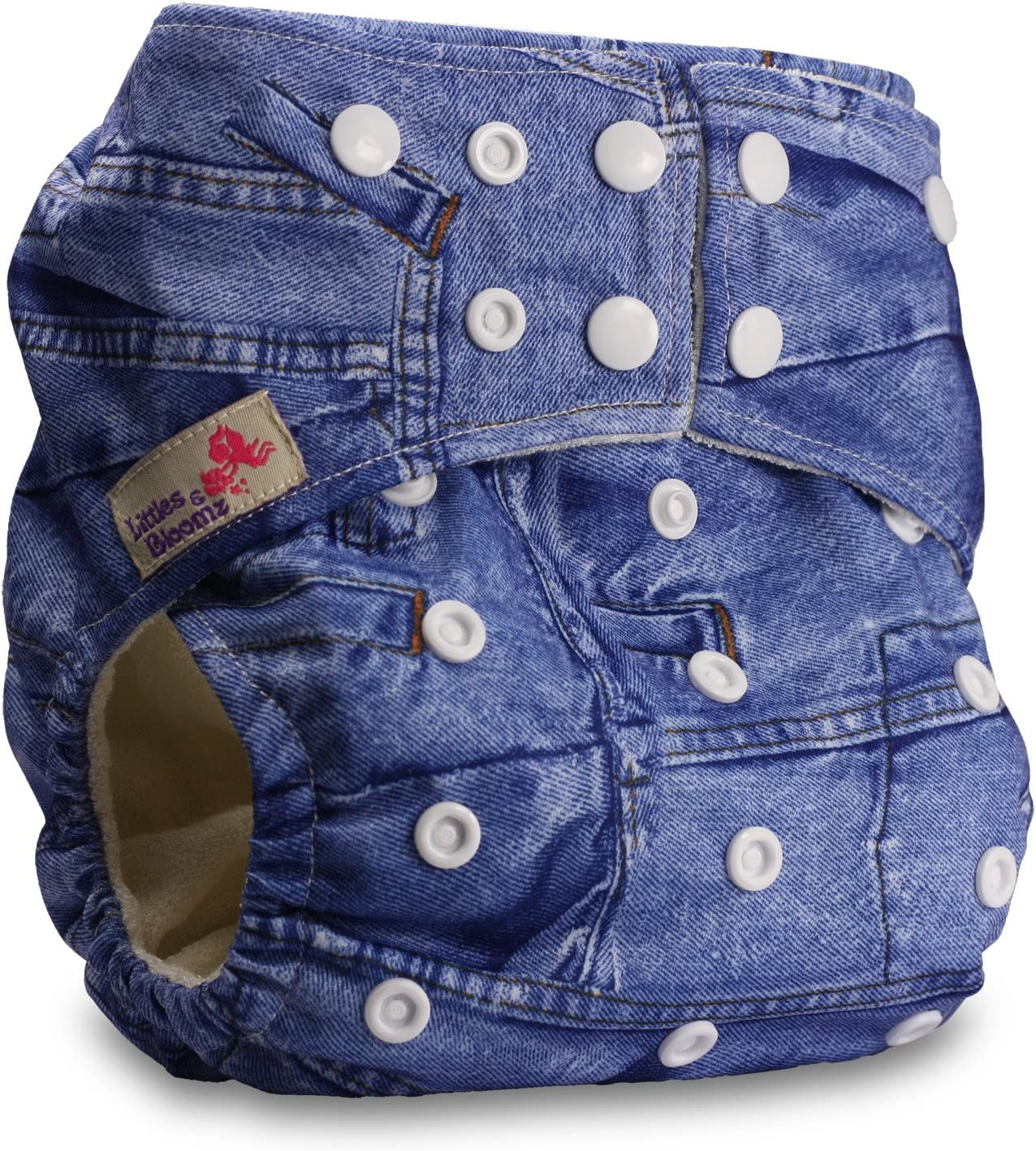 Fastener: Popper Littles /& Bloomz Baby Cloth Washable Reusable Nappy Pocket Diaper Bamboo Pattern 1 with 1 Bamboo Insert