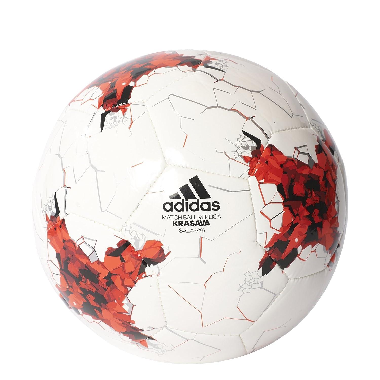 Adidas CONFEDSALA5X5 Ballon de Football Sala Coupe Confé dé rations, Homme, Blanc, 3 Dessus : Blanc/Rouge Clair/Rouge/Noir Dessous : Argent métallisé/Pantone Taille Unique ADIEY|#adidas AZ3200