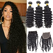 VIPbeauty 3 Bundles and Closure Malaysian Curly Wave 3 Bundles with Closure Unprocessed Hair Extension (18 20 22+16)