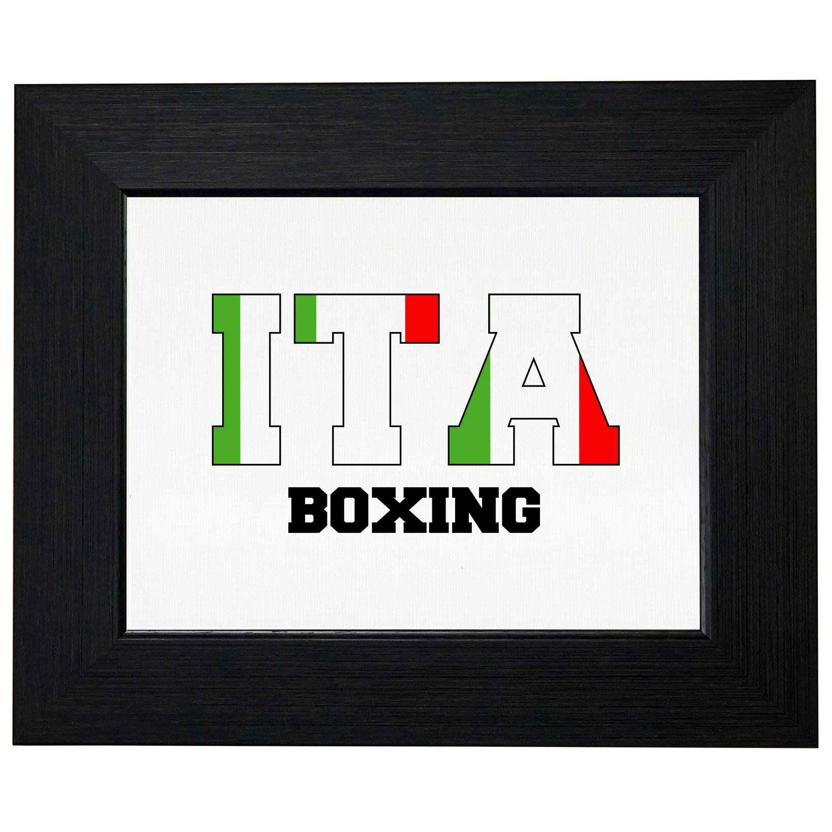 Italy Boxing - Olympic Games - Rio - Flag Framed Print Poster Wall or Desk Mount Options