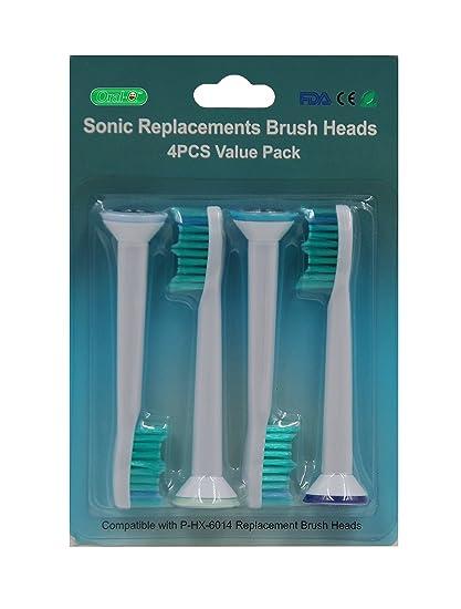 Oral-Q HX6014 Cabezales De Repuesto Estándar Compatible Cepillo De Dientes Eléctrico Philips Sonicare DiamondClean
