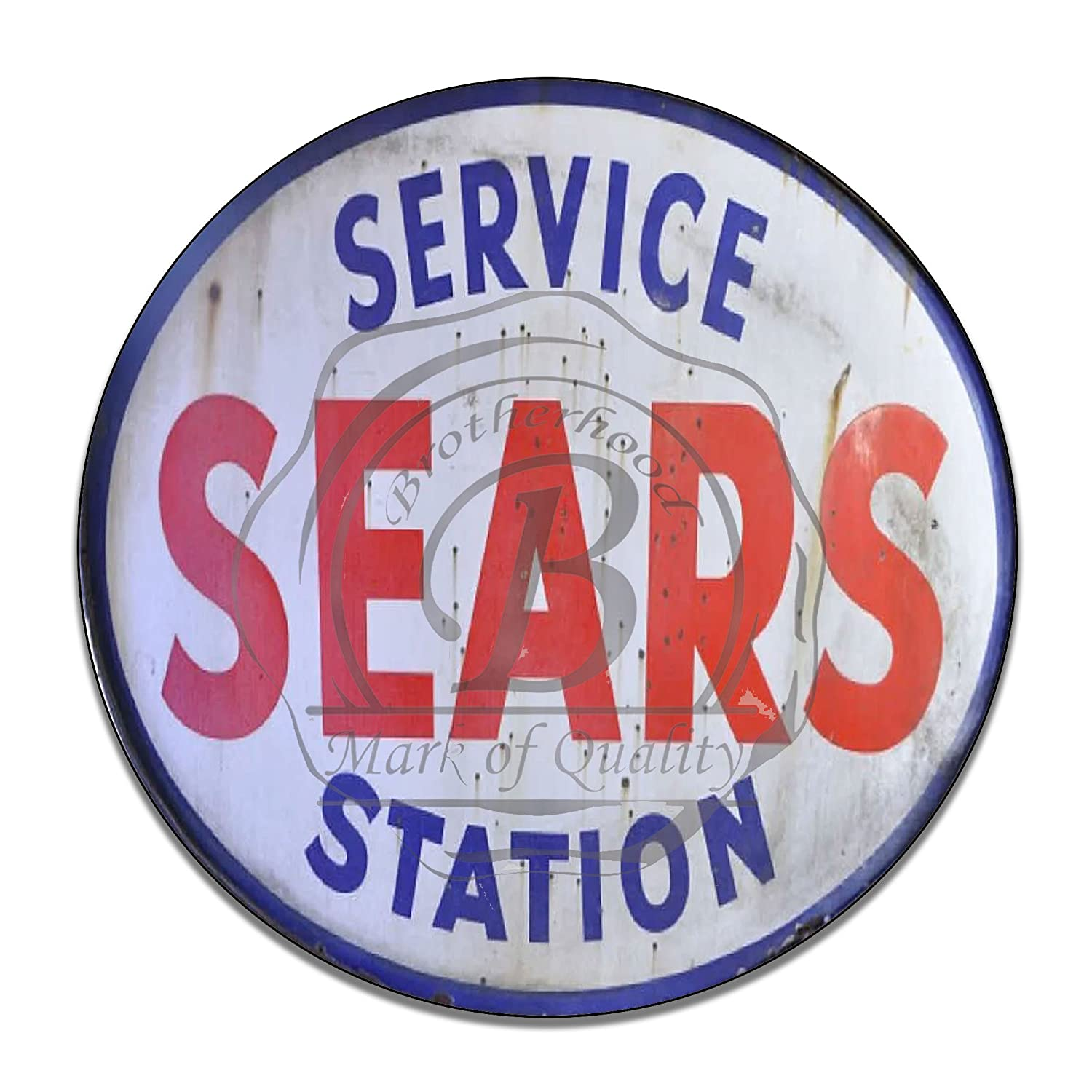 Car Brands Starting With L >> Brotherhood Vintage Gas Signs Reproduction Car Company Vintage Metal Signs Round Metal Tin Sign For Garage Home Decor Sears Service Station