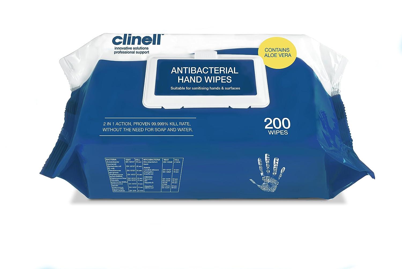 Toallitas de mano antibacterianas 200 unidades Clinell CAHW200