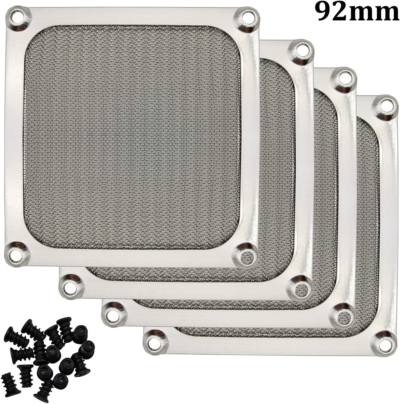 90mm 92mm Computer Fan Filter Grills with Screws, Aluminum Frame Ultra Fine Stainelss Steel Mesh - 4 Pack (Silver)