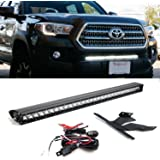 """iJDMTOY 30"""" 150W High Power CREE LED Light Bar with Lower Bumper Insert Mounting Brackets and On/Off Switch Wiring Kit For 2016-up 3rd Gen Toyota Tacoma"""