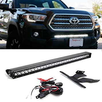 Amazon ijdmtoy 30 150w high power cree led light bar with ijdmtoy 30quot 150w high power cree led light bar with lower bumper insert mounting brackets aloadofball Image collections