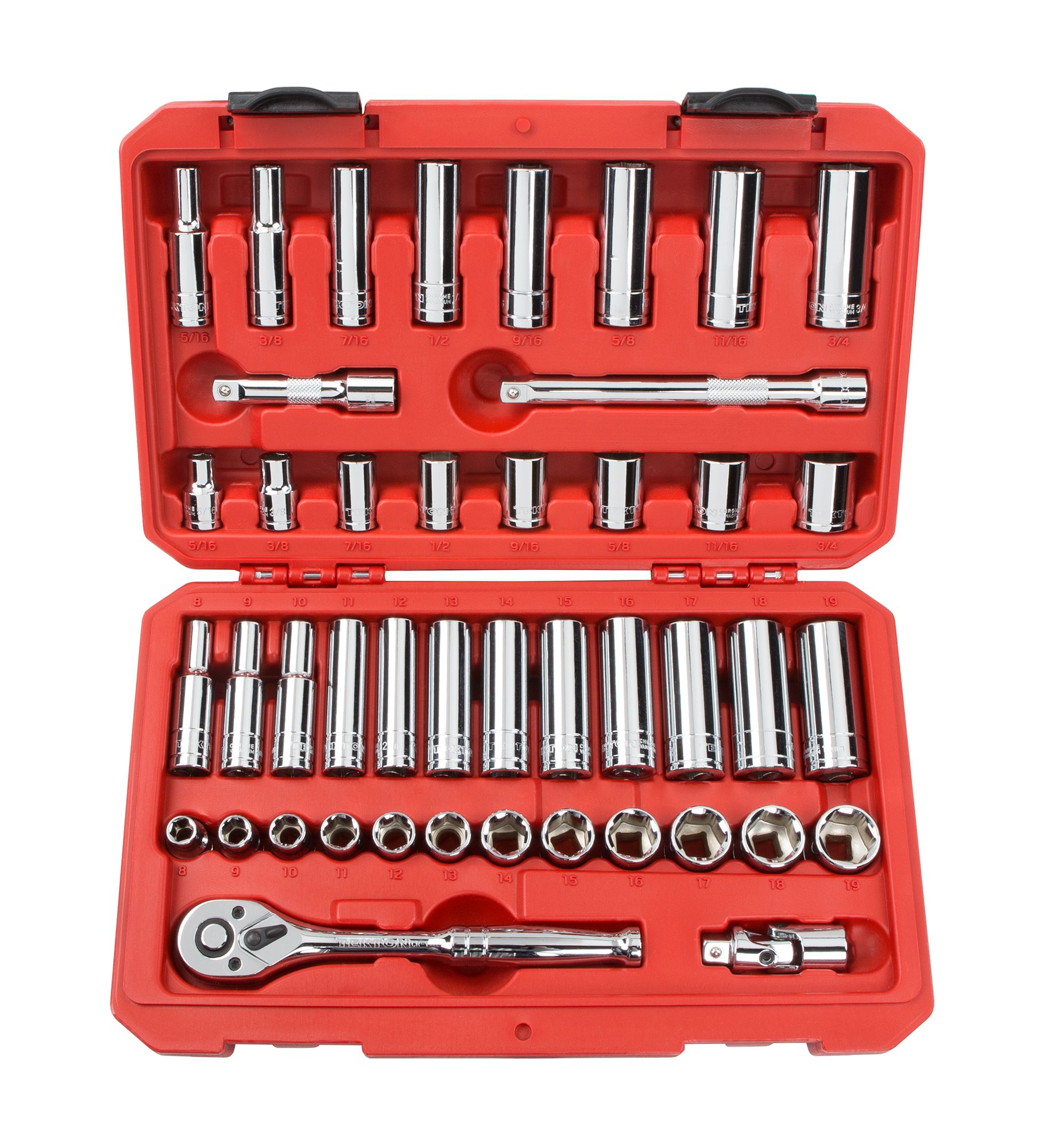 TEKTON 3/8-Inch Drive Socket Set, Inch/Metric, 6-Point, 5/16-Inch - 3/4-Inch, 8 mm - 19 mm, 45-Piece | 13101